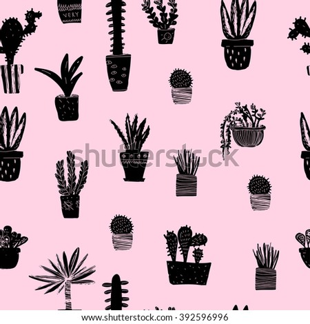Vector seamless pattern with different plants on pink background. - stock vector