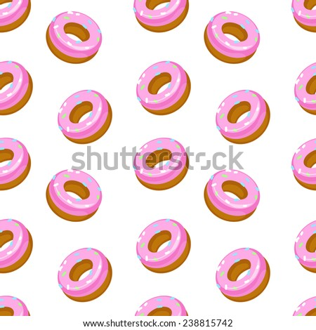 Vector seamless pattern with donuts. Cute pattern on the topic of baking and sweet - stock vector
