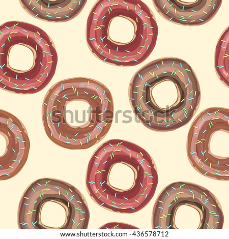 Vector seamless pattern with donuts with glaze and sprinkles on a beige background