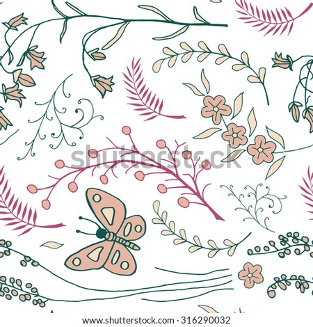 Vector seamless pattern with doodles of flowers and butterflies. Floral background with hand drawn elements. Ornamental decorative illustration for print and web.