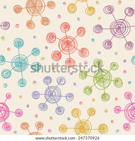 Vector seamless pattern with doodles snowflakes. Hand drawn background in child's style. Cute decorative illustration for print, web - stock vector