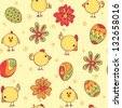 Vector Seamless Pattern with easter eggs and fun chicken. Packing Paper for Easter - stock vector