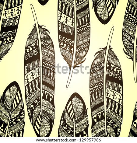 Vector seamless pattern with etno ornate feathers - stock vector
