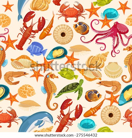 Vector seamless pattern with fishes, corrals, shells, seaweeds, sea-horse and other underwater creatures. Ocean background. Tropical sea life design. - stock vector