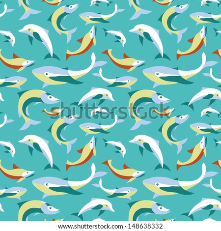 Vector seamless pattern with fishes in flat retro style - abstract background for design