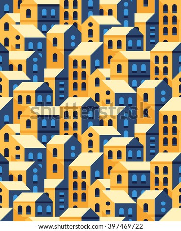 Vector seamless pattern with flat style houses. Small city or town texture. - stock vector