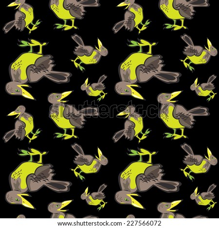Vector Seamless pattern with flock of birds on black background. Crow, blackbird. - stock vector