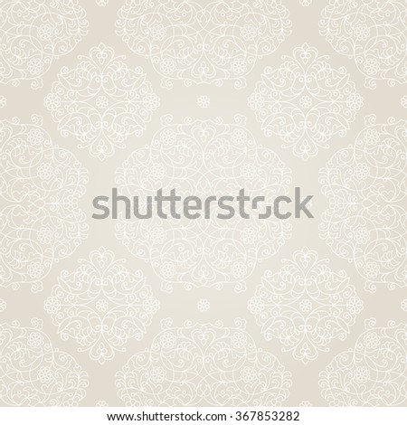Vector seamless pattern with floral ornament. Vintage design element in Eastern style. Ornamental lace tracery. Ornate decor for wallpaper. Traditional arabic decor on beige background. - stock vector