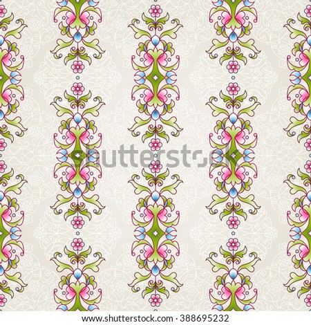 Vector seamless pattern with floral ornament. Vintage design element in Eastern style. Ornamental lace tracery. Ornate decor for wallpaper. Floral vignette on beige background. - stock vector