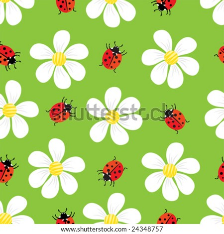 vector seamless pattern with flowers and ladybug - stock vector