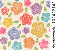 Vector seamless pattern with flowers of doodles made using stencil. Floral colorful background in hand draw childish style. Abstract summery simple illustration - stock vector