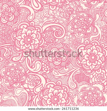 Vector seamless pattern with flowers, pink