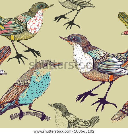 vector seamless pattern with forest birds - stock vector