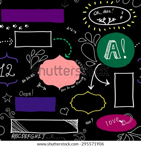 Vector seamless pattern with frames, arrows, drops. Black, white, purple, pink, green, yellow colors. - stock vector