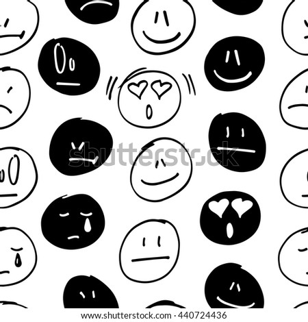 vector seamless pattern with freehand drawing emoticons. - stock vector