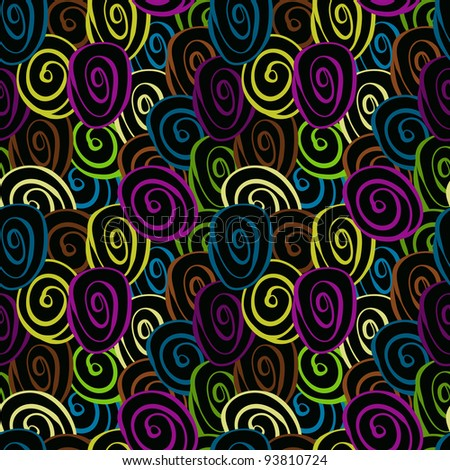 vector seamless pattern with funky circles, looks like thread tangles