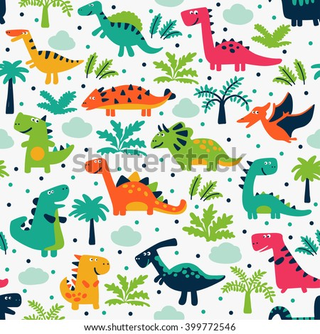 Vector seamless pattern with funny dinosaurs, clouds and trees. Ideal for cards, invitations, wallpaper, web page backgrounds, textile industry, kindergarten, preschool and children room decoration - stock vector