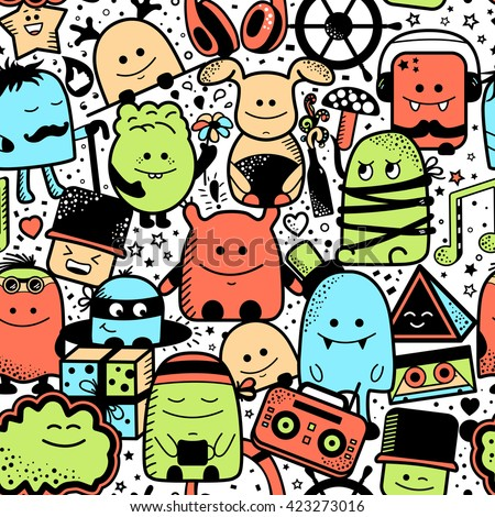Vector seamless pattern with funny monsters. Cool hand drawn characters. Cartoon hand drawn doodles, children's seamless background. Set of colorful unusual creatures - stock vector