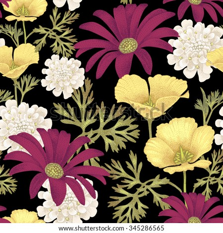 vector seamless pattern with garden flowers on a black background floral illustration in vintage style