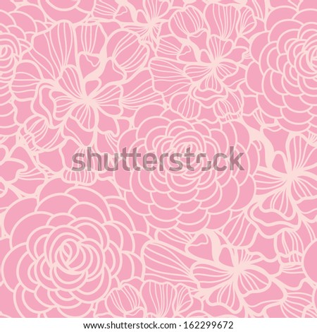 Vector seamless pattern with gentle roses in cute colors. - stock vector