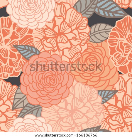 Vector seamless pattern with gentle roses in cute colors.