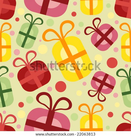 vector seamless pattern with gift box