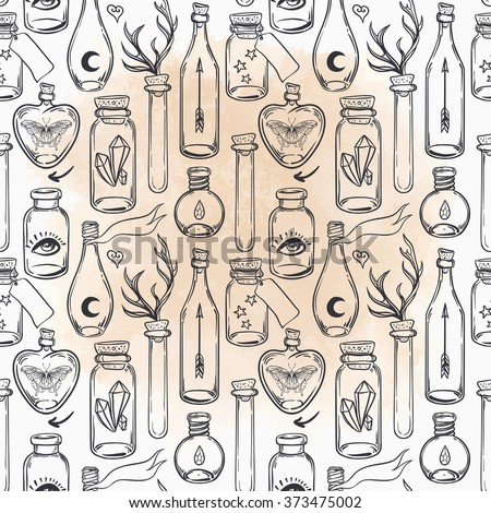 Vector seamless pattern with glass flasks. Magic potions: tubes and bottles. Ink on aged paper. Titled illustration. Science lab doodle style sketch, Magical elements. Alchemy and vintage science.   - stock vector