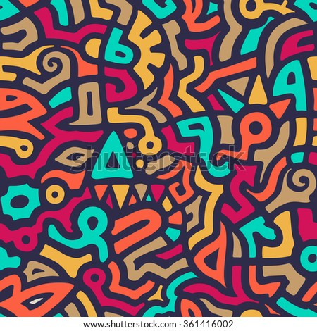 Vector Seamless Pattern with Graffiti Curve Shapes. Mix of Colorful Shapes. Modern Art Background - stock vector