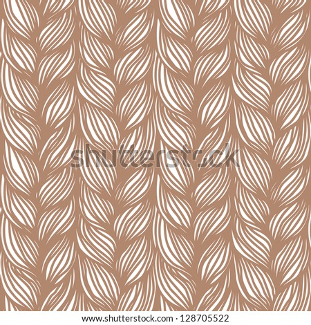 Vector seamless pattern with hairstyle of brown plaits. Abstract illustration of interweaving of braids. Decorative textured yarn close-up. Ornamental simple background in the shape of knitted fabric - stock vector