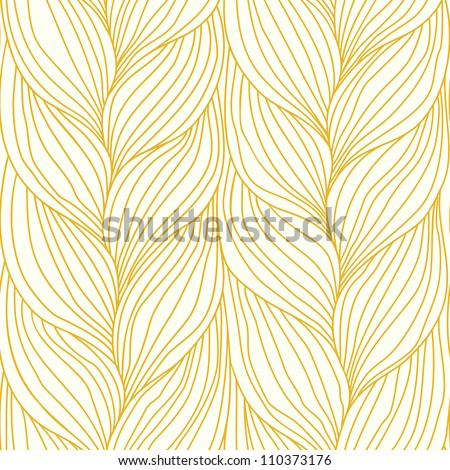Vector seamless pattern with hairstyle of light brown plaits. Abstract illustration of interweaving of braids. Ornamental background in the form of a knitted fabric. Stylized textured yarn close-up. - stock vector