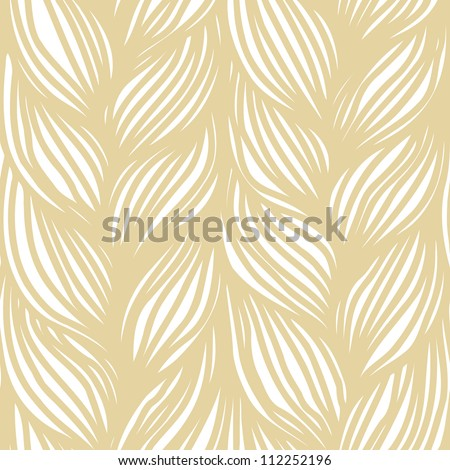 Vector seamless pattern with hairstyle of light brown plaits. Abstract illustration of interweaving of braids. Stylized textured yarn close-up. Ornamental background in the shape of a knitted fabric. - stock vector