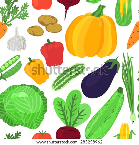 Vector seamless pattern with hand drawing vegetables: onion, carrot, beet, peas, cabbage, eggplant, potato, zucchini, pumpkin, pepper, tomato, corn, garlic, cucumber. Fresh food texture. - stock vector