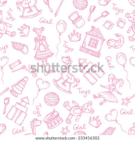 Vector seamless pattern with hand drawn, cartoon and pink toys for little girls on white background. Background for use in design, web site, packing, textile, fabric