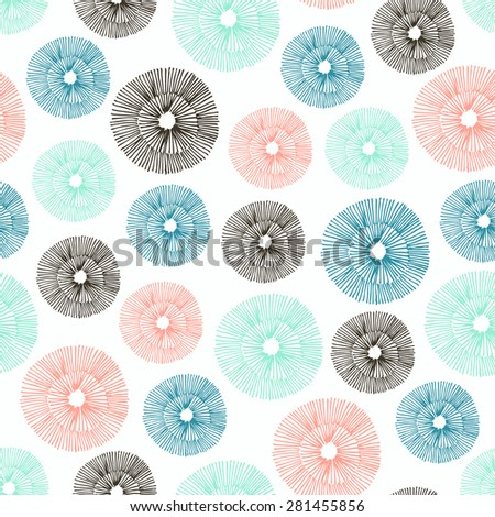 Vector seamless pattern with hand drawn circle elements . - stock vector