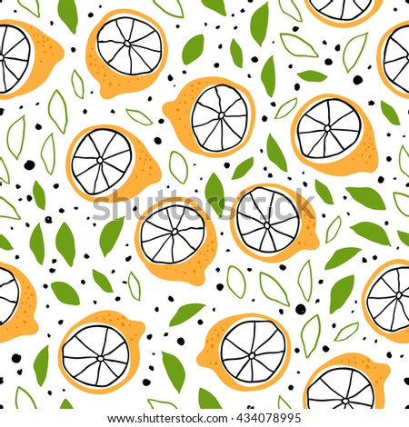 Vector seamless pattern with hand drawn citrus fruits. Good for fashion fabric  print design.