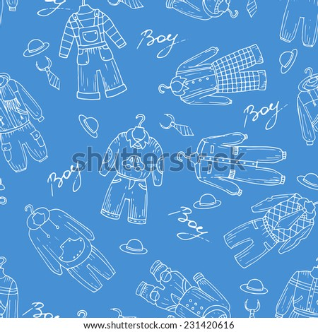 Vector seamless pattern with hand drawn clothes for little boys on blue background. Background for use in design, web site, packing, textile, fabric - stock vector