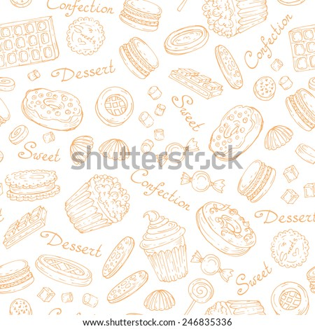 Vector seamless pattern with hand drawn confection on white color. Background for use in design, web site, packing, textile, fabric
