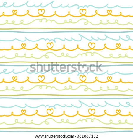 Vector seamless pattern with hand drawn doodle lines in orange, olive green and blue colors. Dynamic striped print for spring summer sportswear, fashion, decoration. Frames and borders set. - stock vector