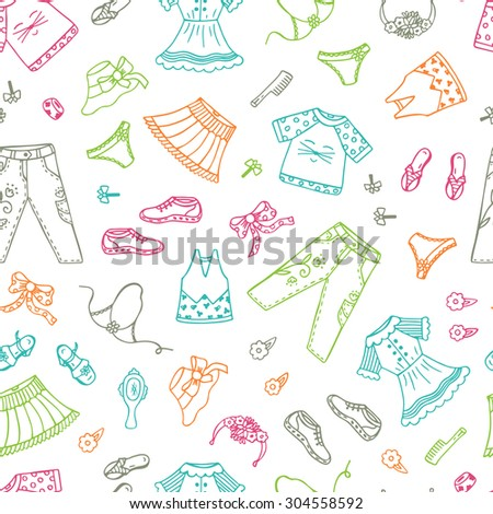 Vector seamless pattern with hand drawn Doodles Clothes and Accessories Little Girls