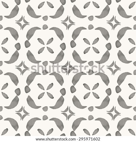 Vector seamless pattern with hand drawn elements. Watercolor decorative background. Rustic monochrome oriental ornament. For cards, banners, ethnic backgrounds. - stock vector
