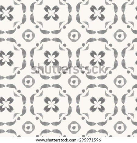 Vector seamless pattern with hand drawn elements. Watercolor oriental ornament. Rustic monochrome decoration. For cards, banners, ethnic backgrounds. - stock vector