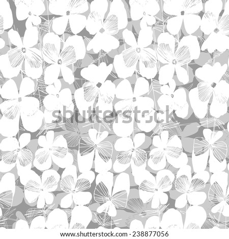Vector seamless pattern with hand drawn flower viola tricolor. Floral background. - stock vector