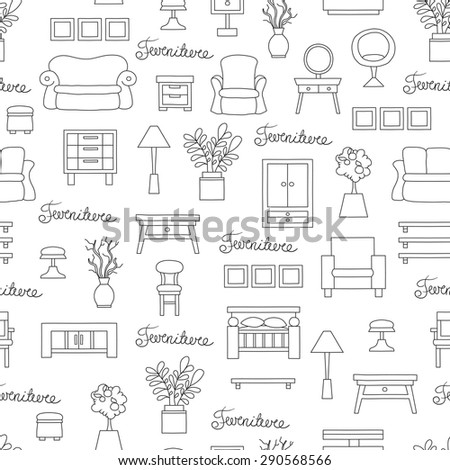 Vector Seamless Pattern With Hand Drawn Furniture And Decoration Elements  On White Background. Background For