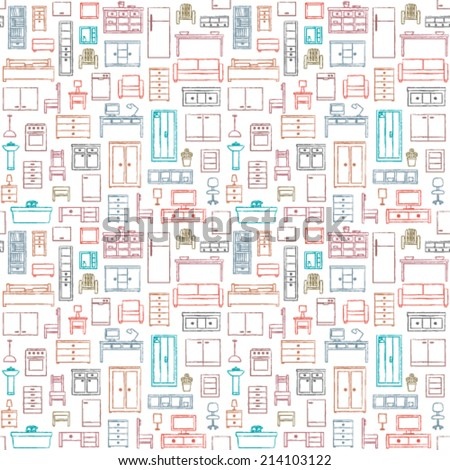Vector seamless pattern with hand drawn furniture elements - stock vector