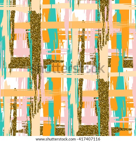 Vector seamless pattern with hand drawn gold glitter textured crossed brush strokes and stripes hand painted. White, gold, pink, green, orange colors.  - stock vector