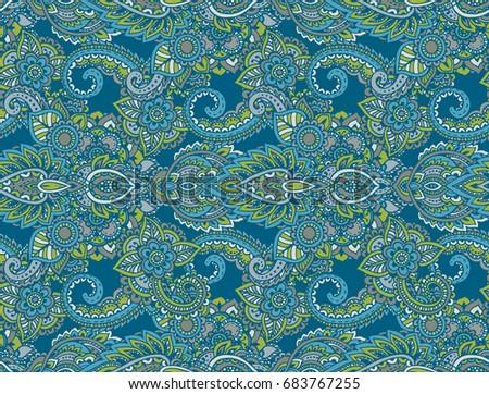 Henna Mehndi Vector : Vector seamless pattern hand drawn henna stock 683767255