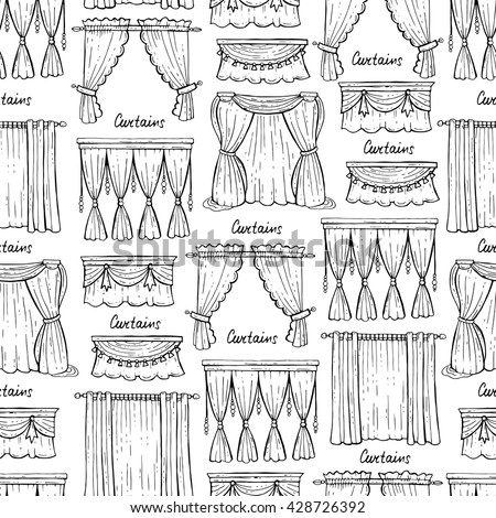 Vector Seamless Pattern With Hand Drawn Isolated Curtains On White Color.  Pattern On The Theme