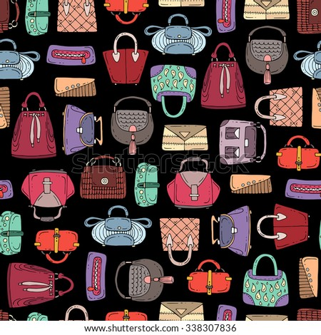 Vector seamless pattern with hand drawn isolated handbags for women on black color. Pattern on the theme of fashion. Background for use in design, packing, textile, fabric - stock vector