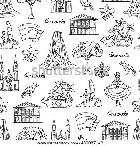 Vector seamless pattern with hand drawn isolated symbols of Venezuela on white color. Pattern on the theme of travel and tourism. Background for use in design, packing, web site, fabric