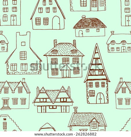 Vector seamless pattern with hand drawn old country houses. Nice representatives of different european architectural styles. Cool design elements. - stock vector